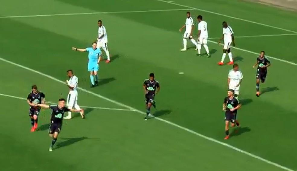 Luis Pedro, da Chapecoense, comemora segundo gol contra o Palmeiras — Foto: Reprodução/CBF