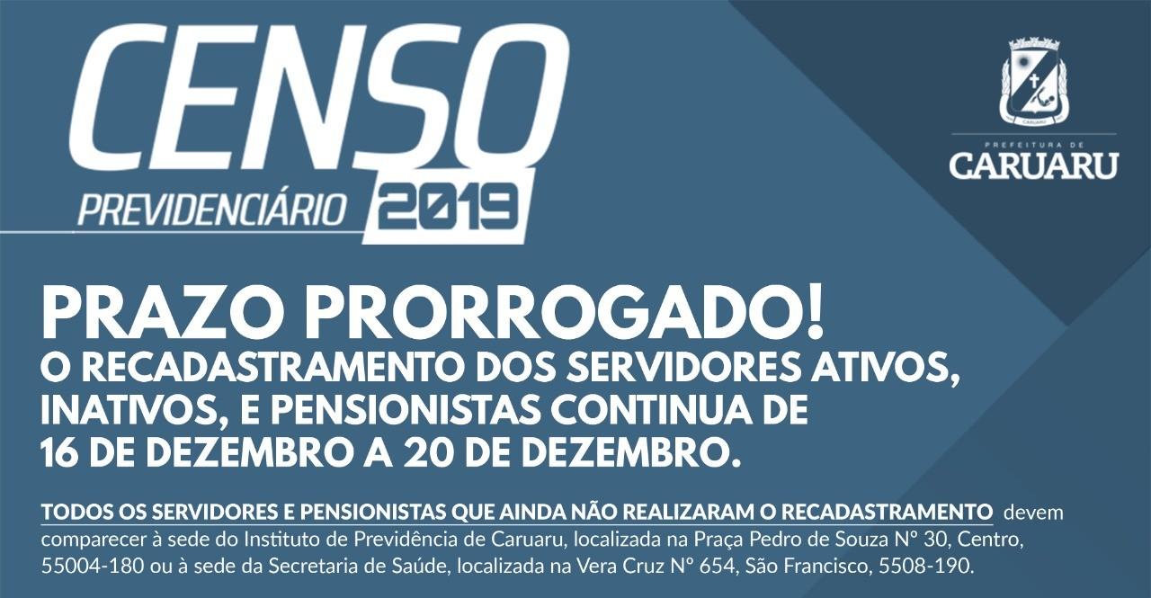 Prefeitura de Caruaru prorroga censo previdenciário
