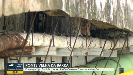 Ponte que liga Barrinha ao Jardim Oceânico tem estrutura deteriorada