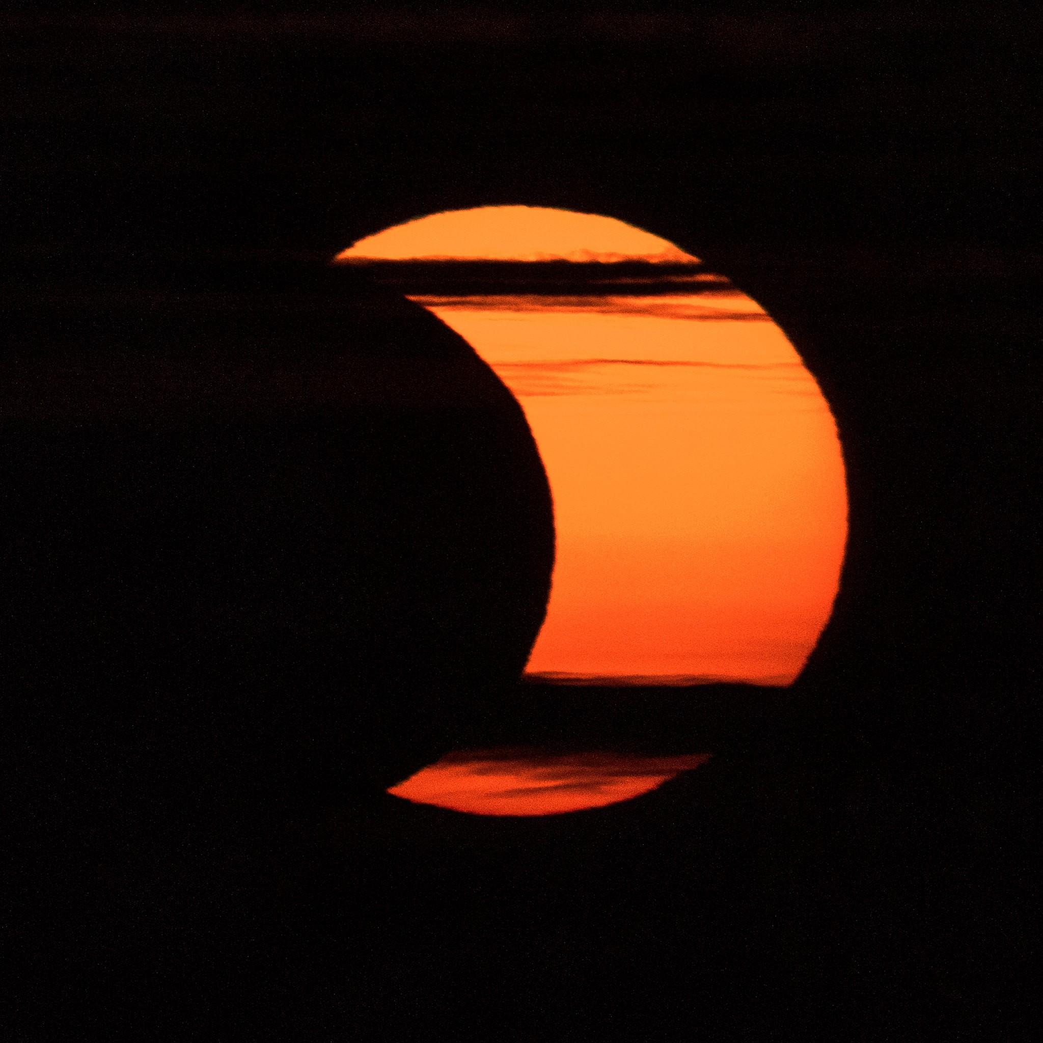 Eclipse solar anular do dia 10 de junho de 2021 visto de Arlington, Virginia (Foto: NASA/Bill Ingalls)