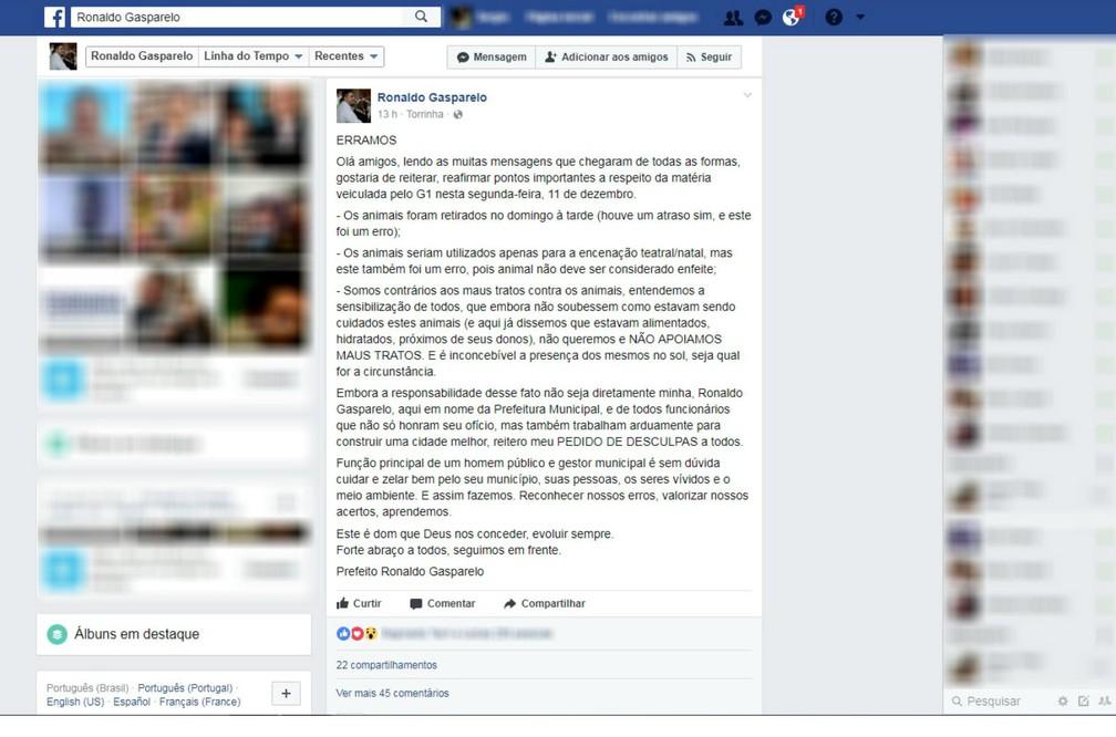 Ronaldo Gasparelo, prefeito de Torrinha, usou sua conta em uma rede social para se desculpar com a população (Foto: Facebook/Reprodução)