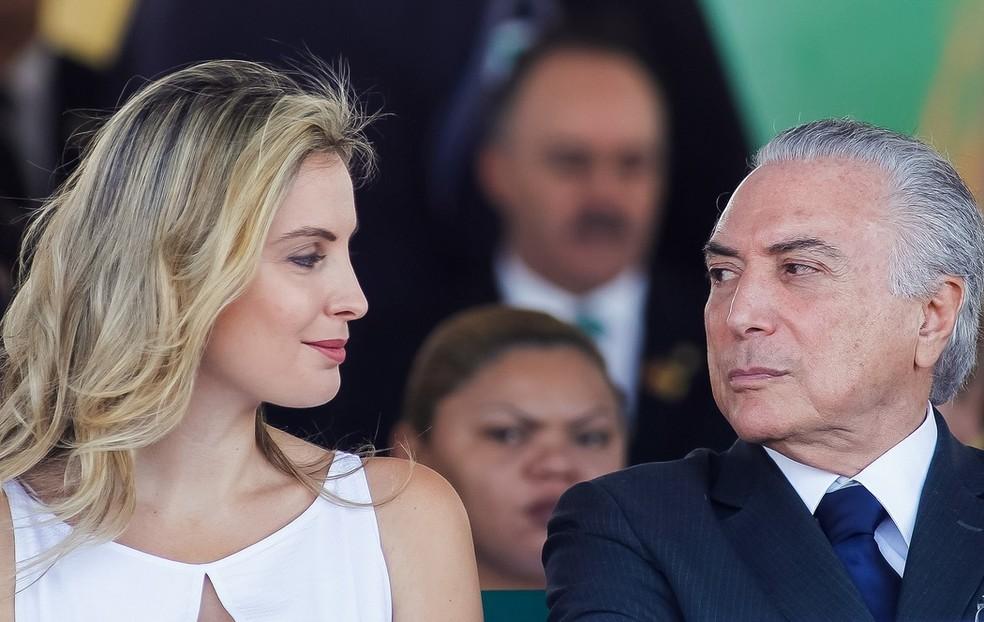 Marcela Temer e o ex-presidente Michel Temer — Foto: Beto Barata/PR