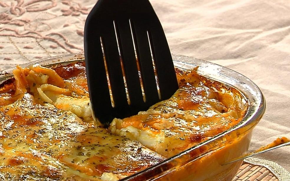 Lasanha de frango do Prato do Dia — Foto: Reprodução/TV Anhanguera