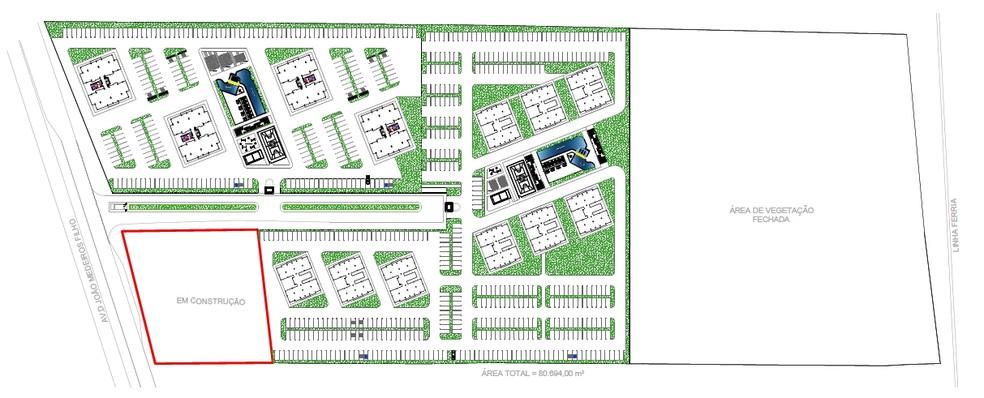 Planta mostra área onde devem ser construídas as casas e os apartamentos do Programa Moradia Cidadã Segurança, do governo do RN (Foto: Governo do RN/Divulgação)