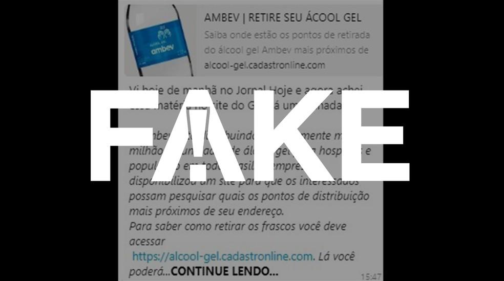 É #FAKE que Ambev está distribuindo álcool gel gratuitamente à população — Foto: Reprodução
