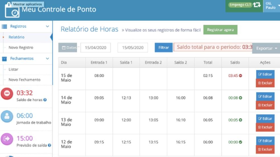 Controle de Ponto permite registrar horas trabalhadas online — Foto: Reprodução/Paulo Alves