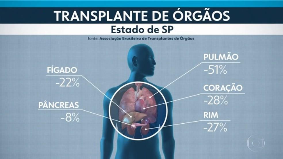 Queda nos transplantes de órgãos no estado de SP durante a pandemia, entre março de 2020 e maio de 2021. — Foto: Reprodução/TV Globo