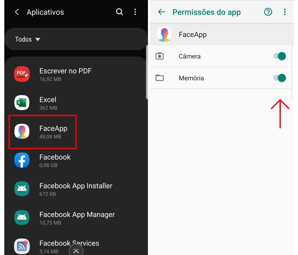 Saiba como desativar as permissões do FaceApp no seu dispositivo — Foto: Reprodução/Emanuel Reis