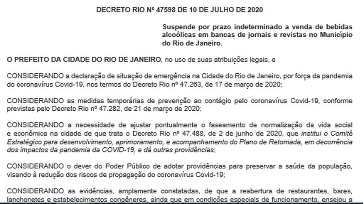 Prefeitura do Rio determina suspensão da venda de bebidas alcoólicas em bancas de jornais – G1