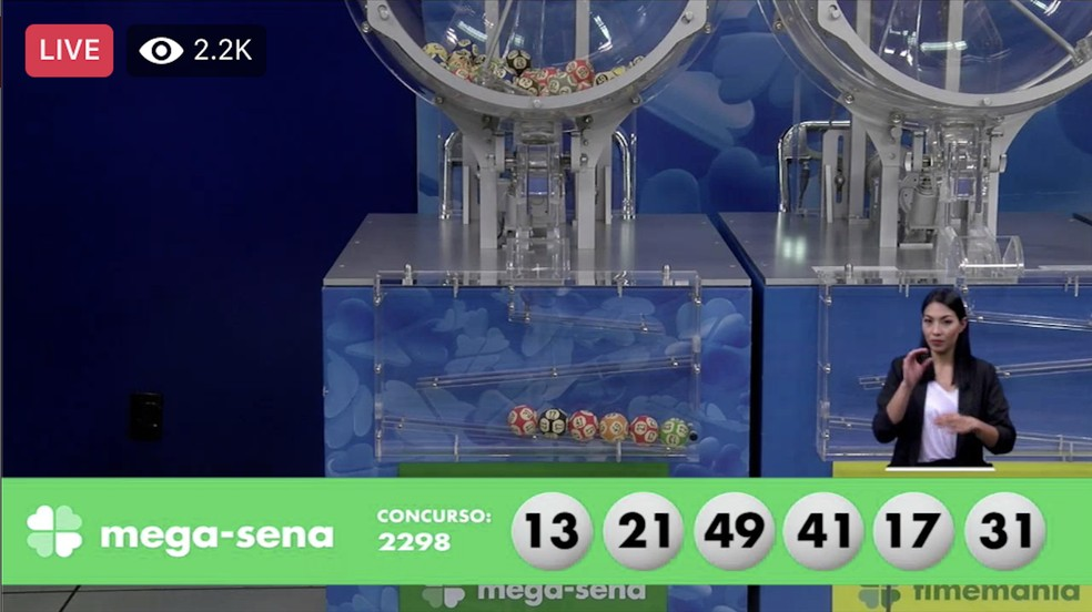 Resultado do concurso 2.298 da Mega-Sena, realizado neste sábado (12) — Foto: Reprodução / Internet