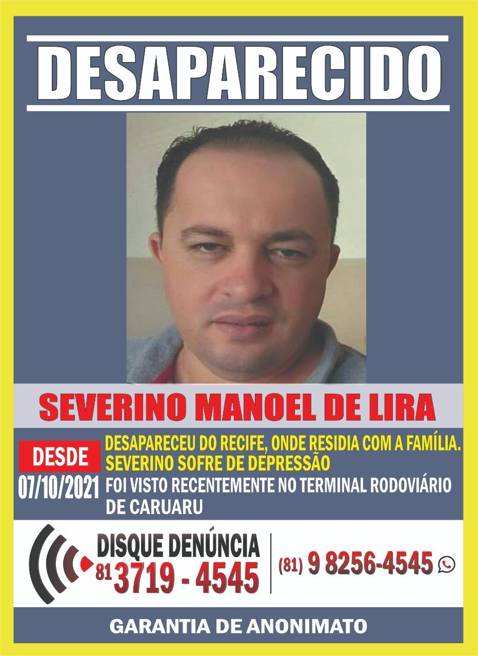 Disque Denúncia divulga foto de homem desaparecido que foi visto pela última vez em Caruaru