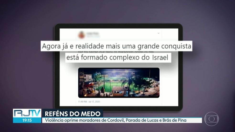 Mensagens na internet exaltam a criação do Complexo de Israel, em cinco comunidades da Zona Norte do Rio — Foto: Reprodução