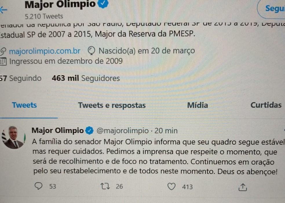 Família do senador Olímpio pede orações nas redes sociais — Foto: Reprodução