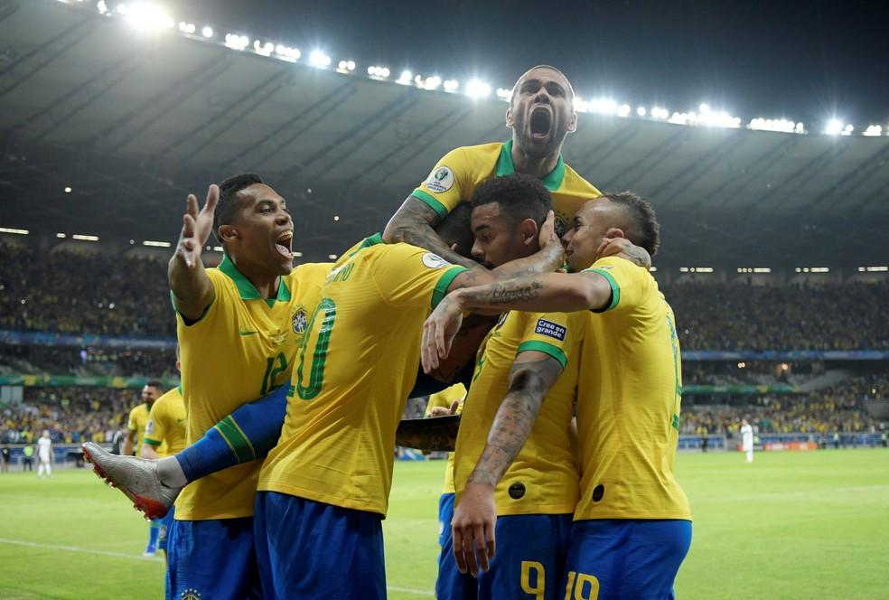 Brasil venceu a Argentina por 2 a 0 em semifinal no Mineirão — Foto: Reuters