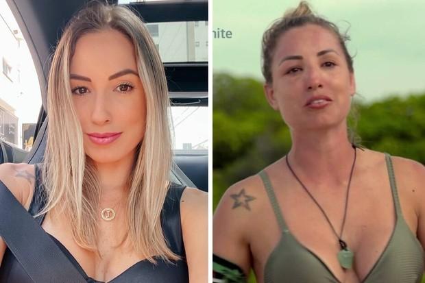 Rosto de Jéssica antes e depois do sol de 'No limite' (Foto: Reprodução)