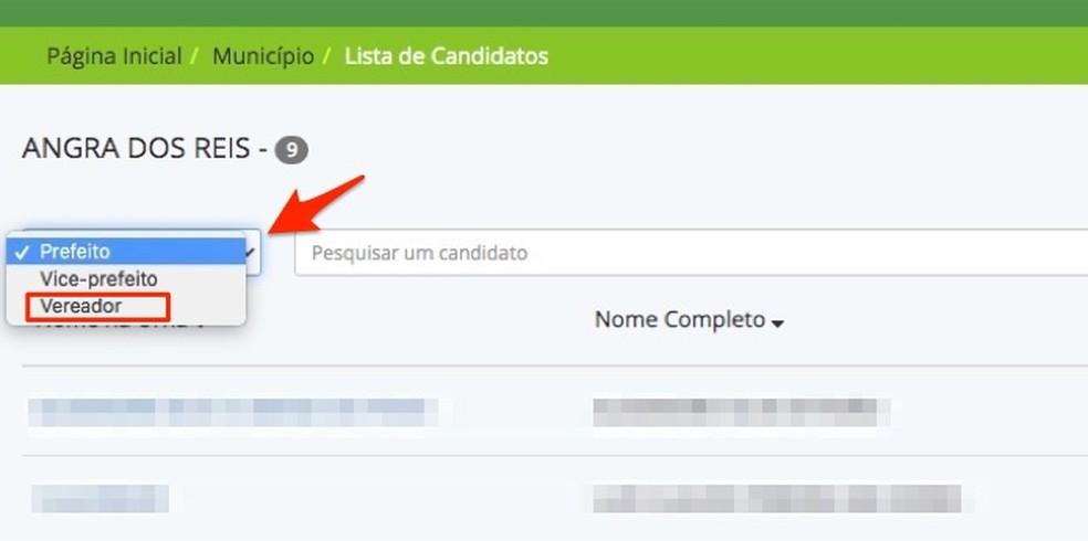 Ação para alterar a visualização de dados para candidatos das eleições municipais — Foto: Reprodução/Marvin Costa