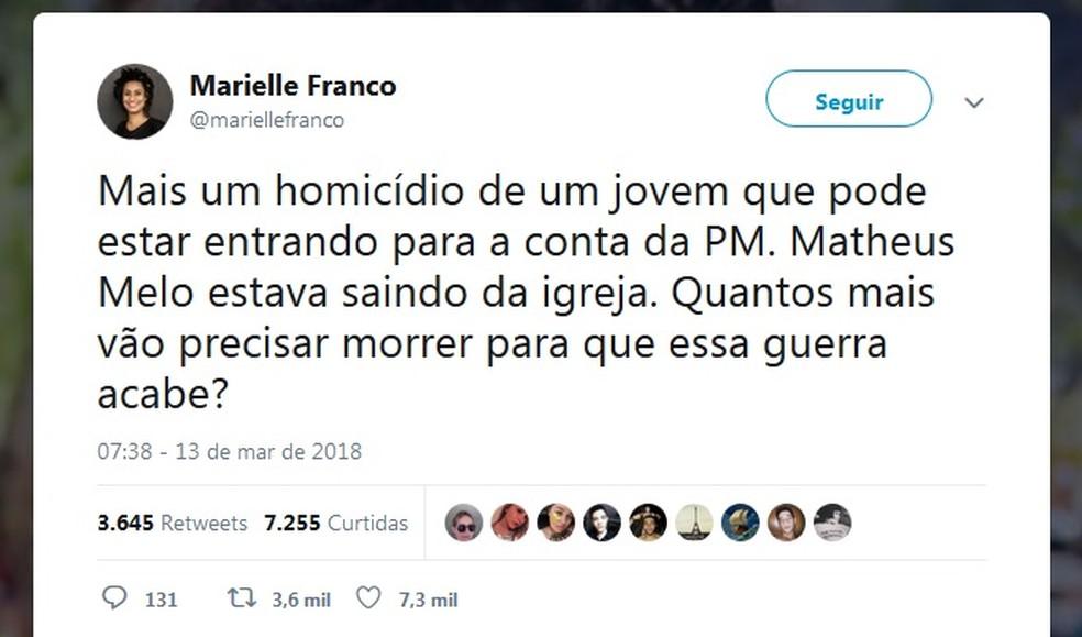Post de Marielle Franco no Twitter, um dia antes de ser assassinada (Foto: Reprodução/Twitter)