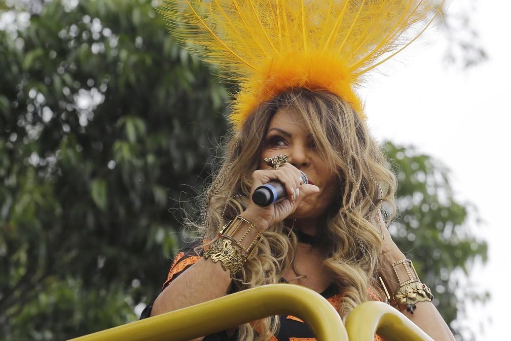 A cantora Elba Ramalho chega para conduzir o bloco de carnaval Frevo Mulher na Avenida Pedro Álvares Cabral, próximo ao Parque do Ibirapuera, na zona sul da capital paulista, neste sábado. (Foto: Nelson Antoine/Estadão Conteúdo)