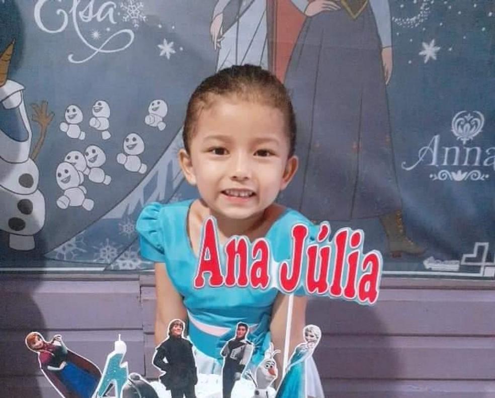 Ana Júlia Pantoja, de 5 anos, morreu após tiro na cabeça em Santana — Foto: Reprodução