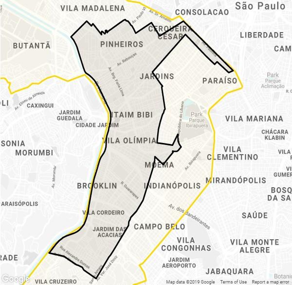 O uso das bicicletas elétricas é restrito às zonas sul e oeste de São Paulo (Foto: Google)