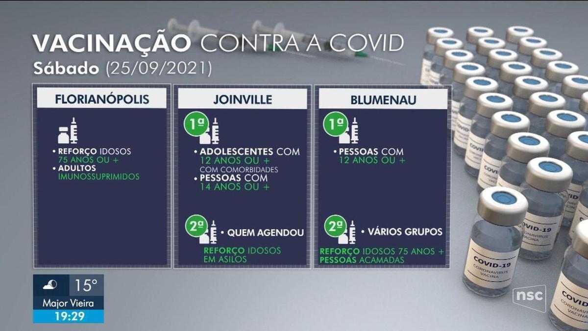 Veja como será vacinação contra Covid em SC neste sábado, 25 de setembro