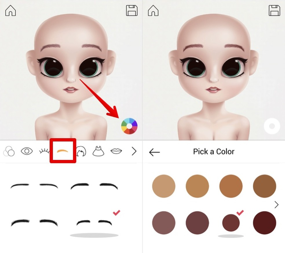 Ajuste formato e cor das sobrancelhas no Dollify — Foto: Reprodução/Helito Beggiora