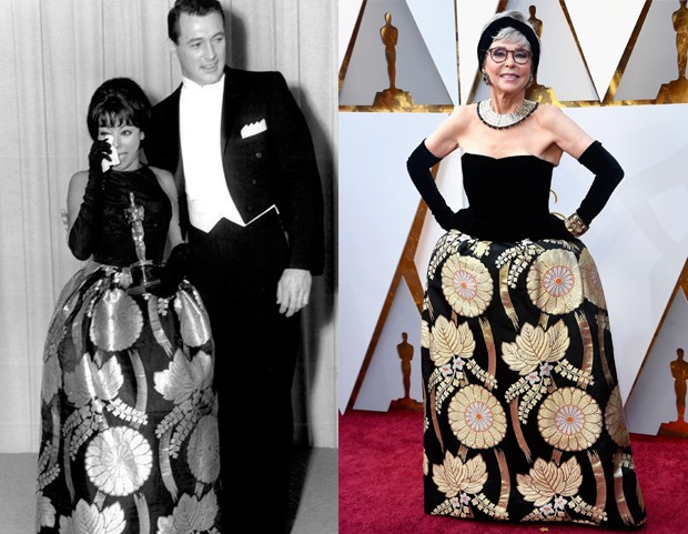 Rita Moreno no Oscar de 1962 e 2018 (Foto: Getty Images)