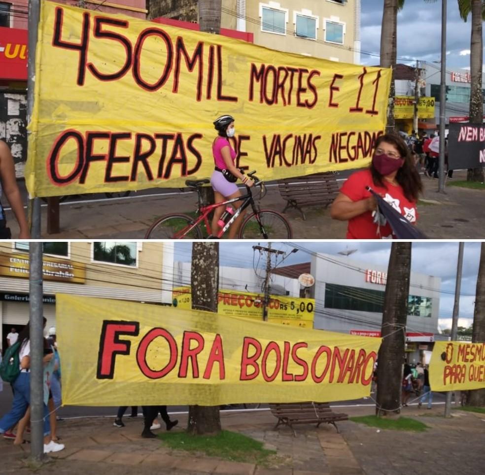 Faixas pediam 'Fora Bolsonaro' e lembravam as vítimas da Covid no Brasil — Foto: Eldérico Silva/Rede Amazônica Acre