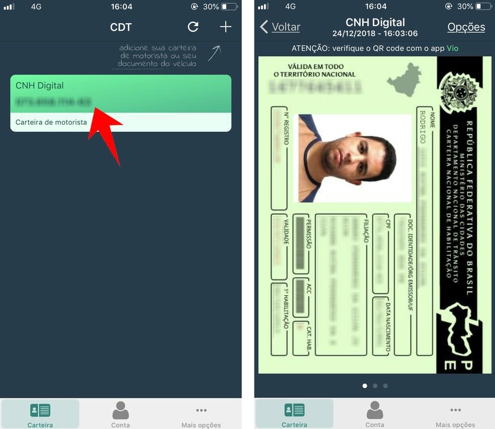 Acesse uma habilitação cadastrada no aplicativo CNH Digital — Foto: Reprodução/Rodrigo Fernandes