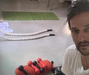 Marcelo Serrado na sua academia pessoal | Arquivo pessoal