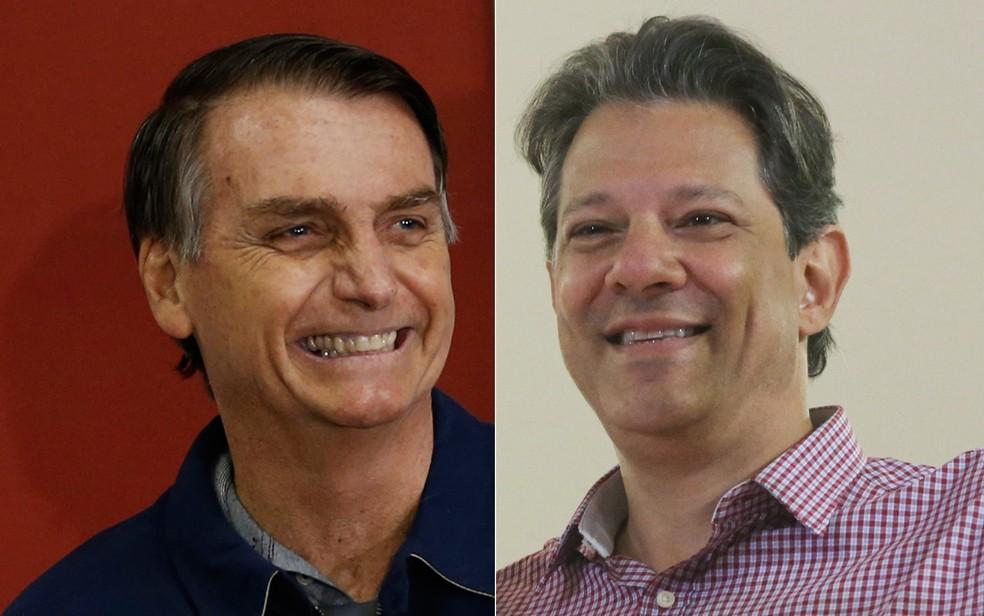 Bolsonaro e Haddad vão disputar o cargo de presidente no segundo turno — Foto: Wilton Junior/Estadão Conteúdo; Fábio Vieira/Fotorua/Estadão Conteúdo