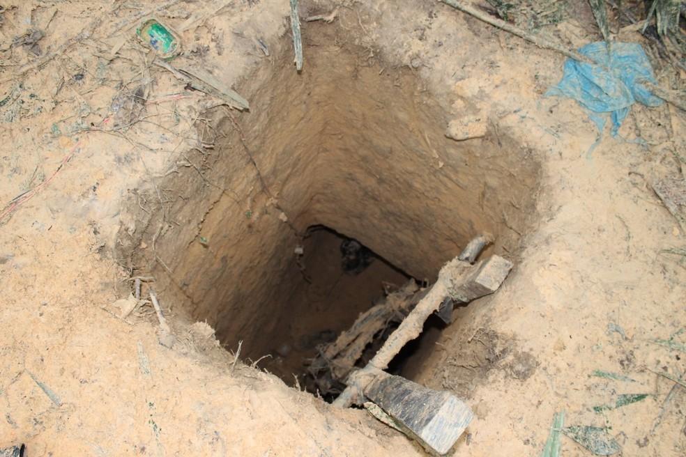 Túnel tem aproximadamente 3 metros de profundidade e 8 metros (Foto: Seap/Divulgação)