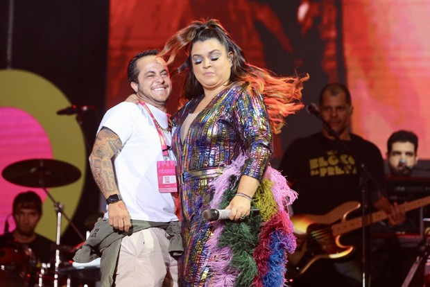 Preta Gil com Gretchen e Thammy Miranda (Foto: Brazil News)