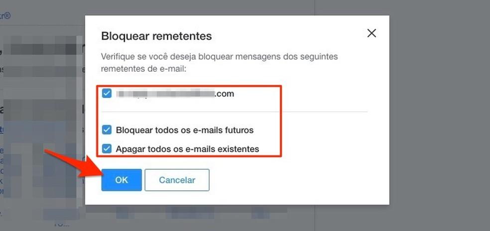 Ação para bloquear um remetente de e-mail no Yahoo Mail — Foto: Reprodução/Marvin Costa