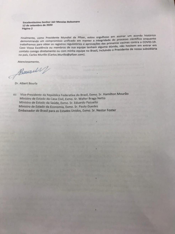 Página final da carta da Pfizer enviada ao governo brasileiro, de acordo com Wajngarten — Foto: Reprodução