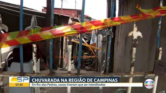 Casas são interditadas devido a estragos da chuva em Rio das Pedras, perto de Campinas