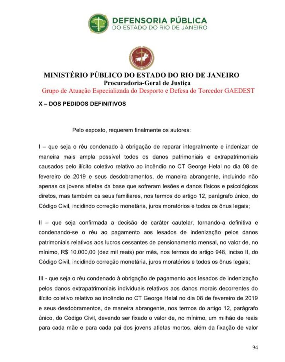 Ação MP-RJ contra o Flamengo — Foto: Site MP-RJ