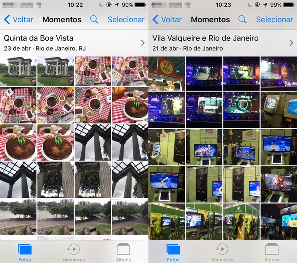 iOS mantém álbum de fotos (Foto: Reprodução/Pedro Cardoso)