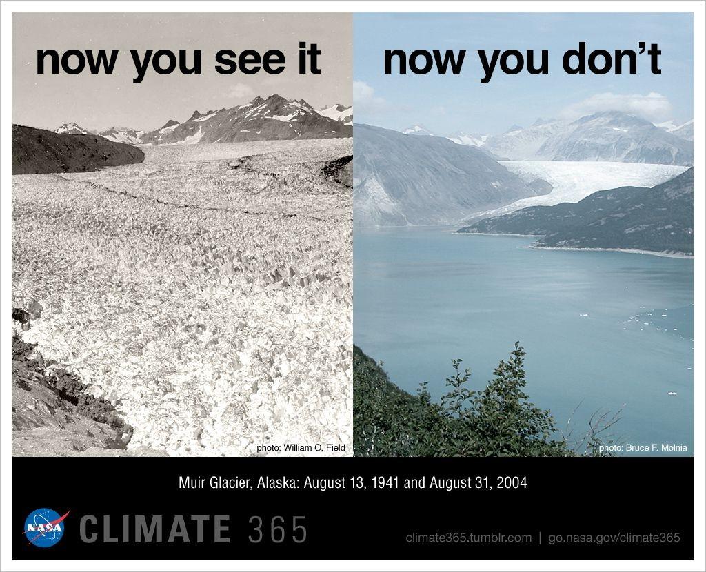 Imagem mostra o efeito do aquecimento nas geleiras do Alasca. (Foto: NASA)