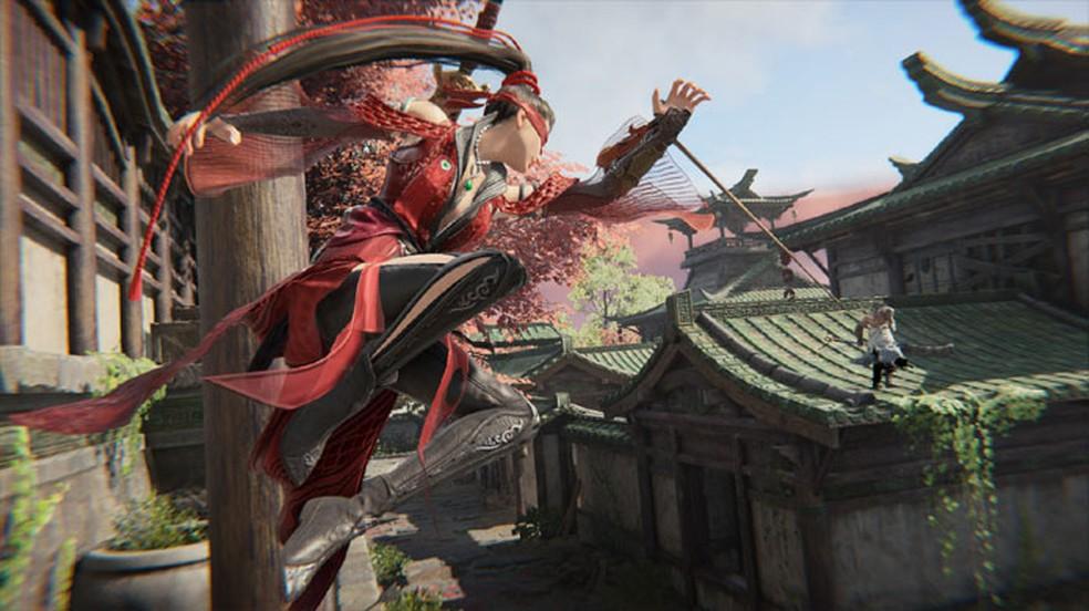 Naraka: Bladepoint é um novo Battle Royale focado em lutas de espadas e locomoção livre pelo cenário com parkour — Foto: Reprodução/Steam