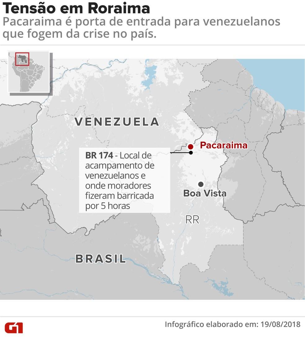 Mapa mostra localização de Pacaraima, cidade de fronteira com a Venezuela (Foto: Roberta Jaworski/G1)