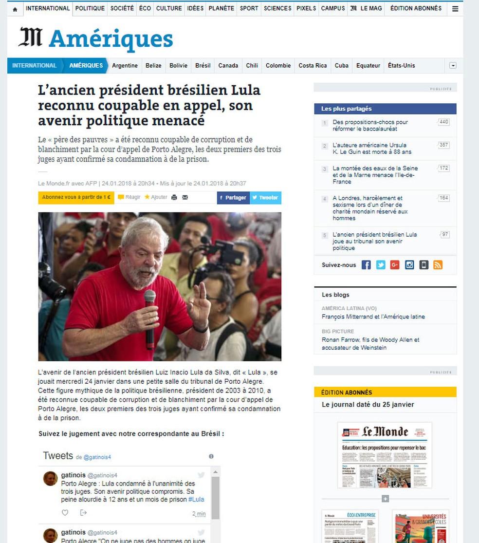 Jornal francês 'Le Monde' noticia decisão sobre recurso de Lula nesta quarta-feira (24)  no TRF-4 (Foto: Reprodução/ Le Monde)
