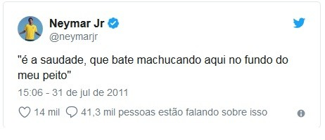 Neymar resume em um tuíte o signo de câncer (Foto: Reprodução / Twitter)