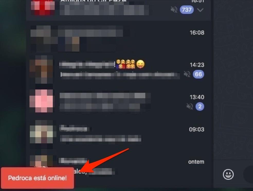 Alertas de contatos online no WhatsApp enviados pela extensão WA Web Plus — Foto: Reprodução/Marvin Costa