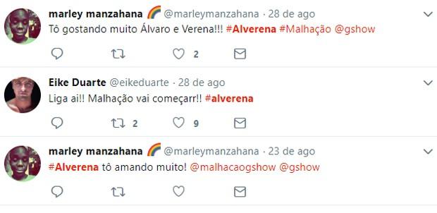 Web shippa casal Alvarena: Álvaro (Eike Duarte) e Verena (Joana Borges)  (Foto: Reprodução/Twitter)