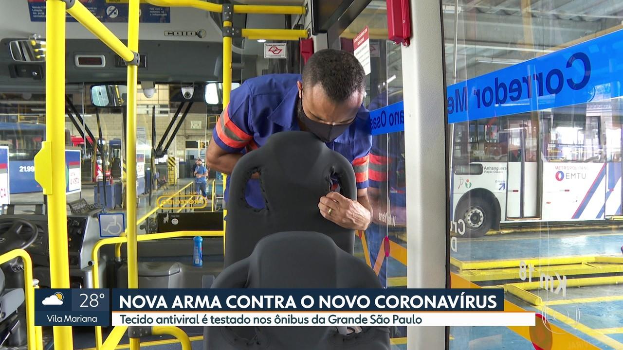 Empresa começa a testar tecido antiviral nos ônibus da Região Metropolitana de São Paulo