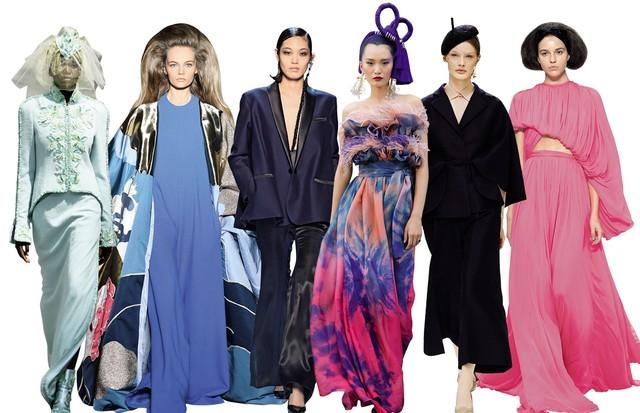Da esquerda para a direita: Chanel, Valentino, Jeann Paul Gaultier, Dolce & Gabbana, Dior e Giambarrista Valli (Foto:  © Boris Lipnitzki/Roger-Viollet Chanel Fine Jewelry/Getty Images)