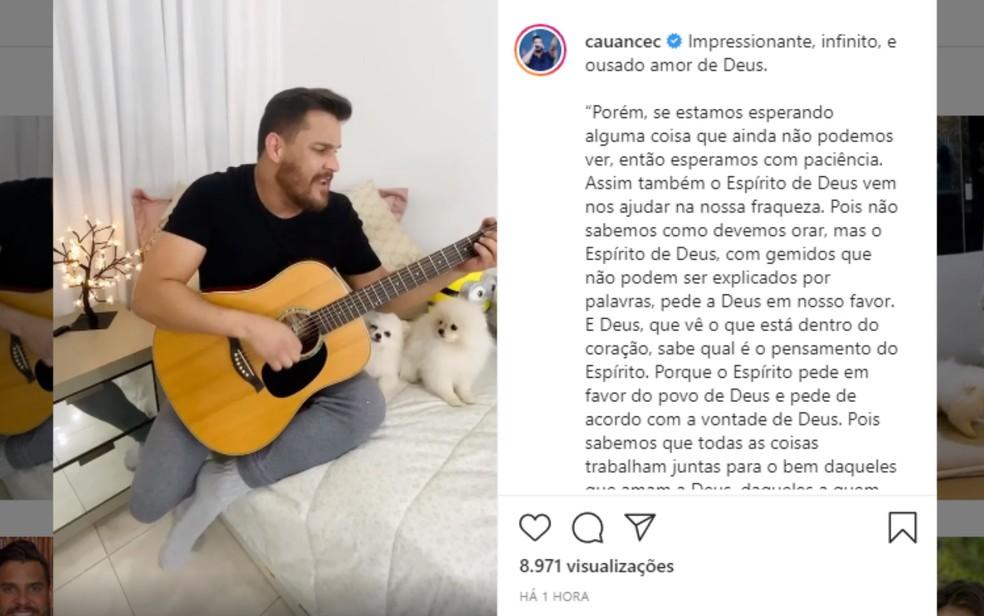 Publicação feita no perfil de Cauan Máximo de vídeo gravado em outra ocasião; músico está na UTI com Covid-19 — Foto: Reprodução/Instagram