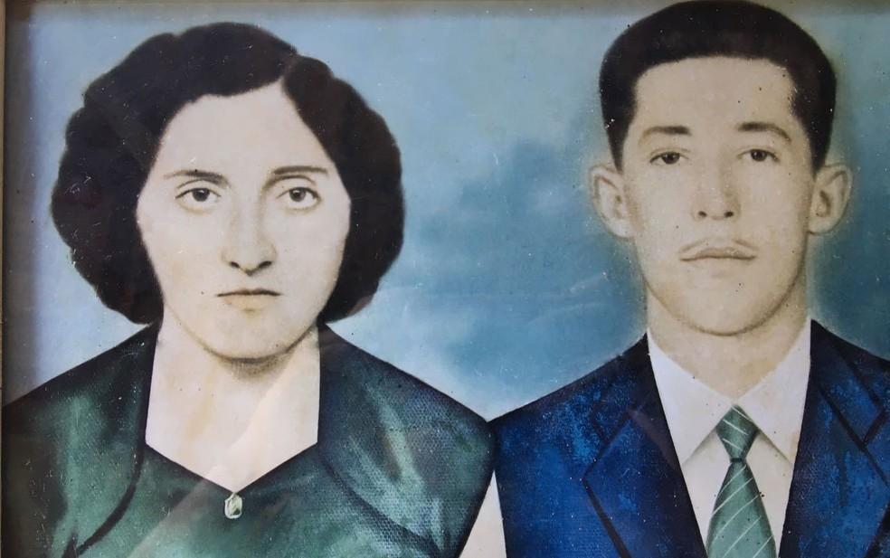 Casal de Piracicaba, Emília e Antenor, quando eram jovens (Foto: Arquivo pessoal)