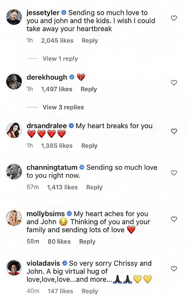 Celebridades enviam mensagens de apoio a Chrissy Teigen e John Legend após perda de bebê (Foto: Instagram)